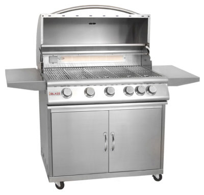 Blaze Outdoor Products – 40″ 5-Burner Grill With Rear Burner On Cart