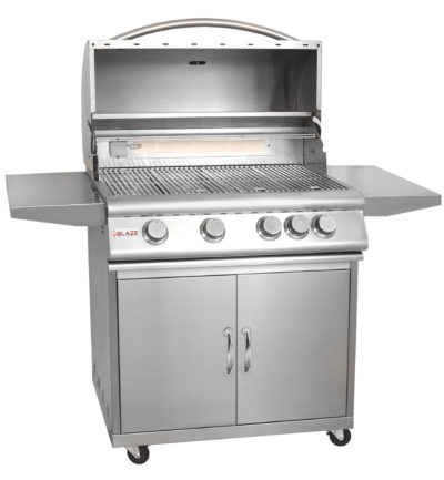 Blaze Outdoor Product – 32″ 4-Burner Grill With Rear Burner On Cart