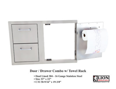 Image of Lion Door and 2 Drawer Combo with Towel Rack Outdoor Kitchen Component.