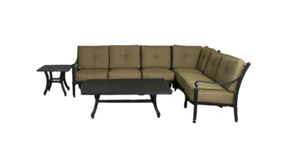 Basso Collection 4 Piece Loveseat Sectional Set w/ End Table & Coffee Table