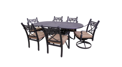 Basso Collection 4 Dining Chairs, 2 Swivel Rockers and Le Terrace 42 x 72 Oval Table