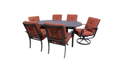 Venice Collection 4 Dining Chairs, 2 Swivel Rockers, and Le Terrace 42 x 72 Oval Table