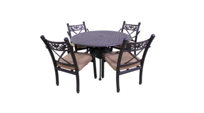 Basso Collection 4 Dining Chairs and Le Terrace 42″ Round Table