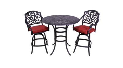 Carrera Collection 2 Barstools and Catalina 42″ Round Bar Height Table