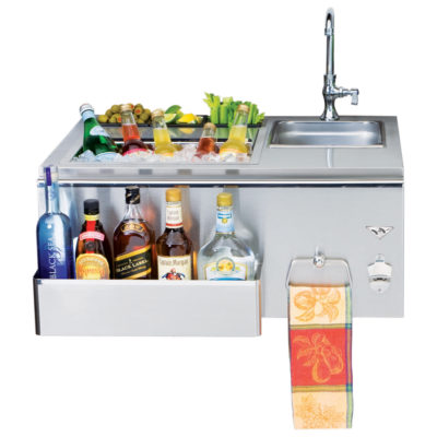 Twin Eagles 30-Inch Outdoor Bar with Sink and Ice Bin Cooler TEOB30-B