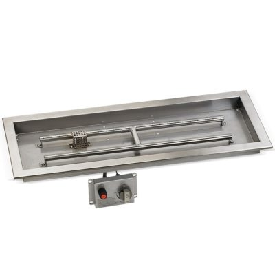 "30"" x 10"" Stainless Steel Rectangular Drop-in Fire Pit Pan With Electric Ignition System kit, CSA Certified"