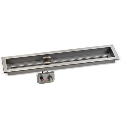 "36"" x 6"" Stainless Steel Linear Drop-in Fire Pit Pan With Electric Ignition System kit, CSA Certified"