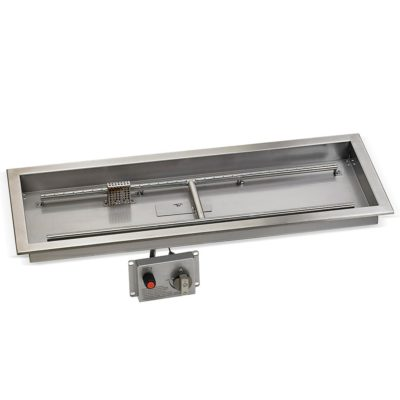 "36"" x 12"" Stainless Steel Rectangular Drop-in Fire Pit Pan With Electric Ignition System kit, CSA Certified"