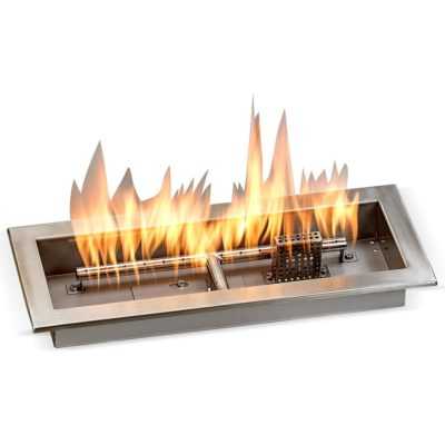 "18"" x 6"" Drop-in Fire Pit Pan With Electric Ignition System kit, CSA Certified - Rectangular Stainless Steel"