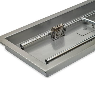 """36"""" x 12"""" Stainless Steel Rectangular Drop-in Fire Pit Pan With Electric Ignition System kit, CSA Certified"""