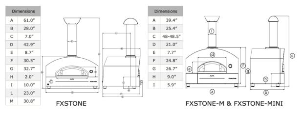 Alfa Stone Ovens Dimensions