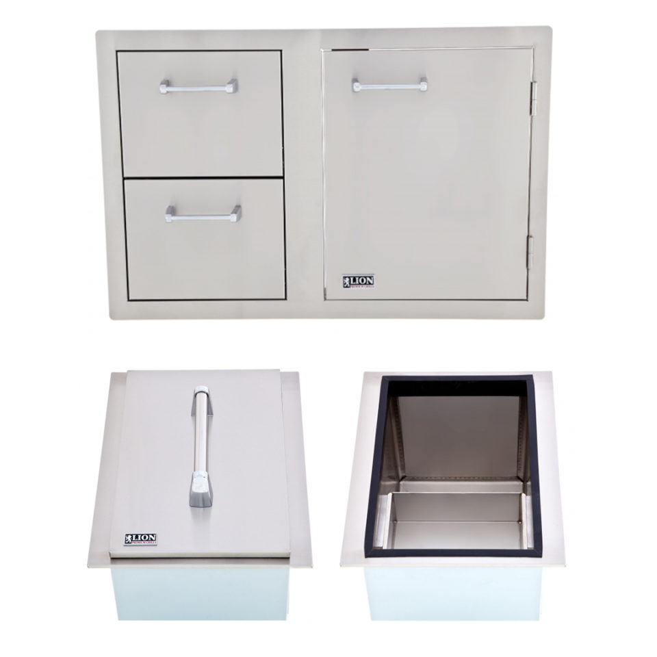 Lion Ice Chest and Door and Drawer Combination