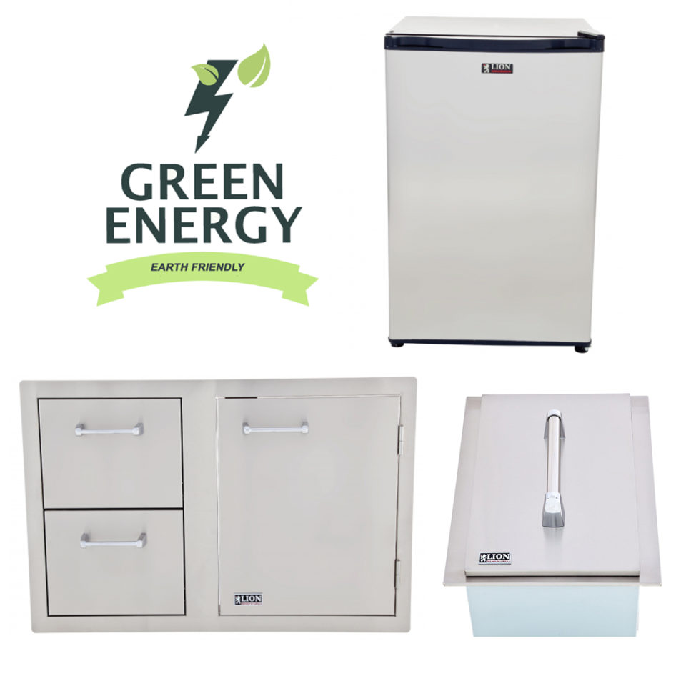 Lion BBQ Refrigerator and Door and Drawer Combination and Ice Chest