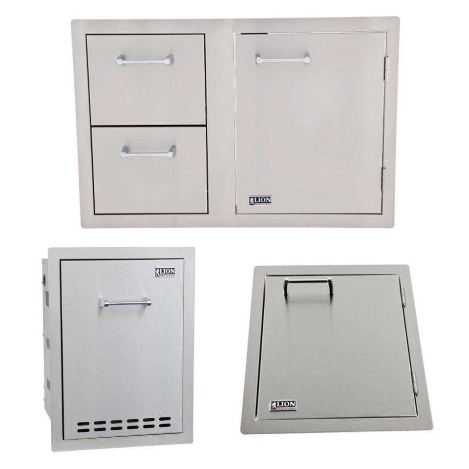 Lion BBQ Multi Function Bin and Vertical Access Door with Door and Drawer Combination