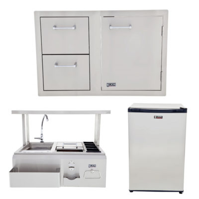 Lion BBQ Bar Center with Top Shelf and Door and Drawer Combination and Refrigerator