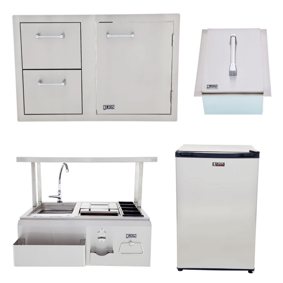 Lion BBQ Bar Center with Top Shelf and Door and Drawer Combination, Refrigerator, and Ice Chest