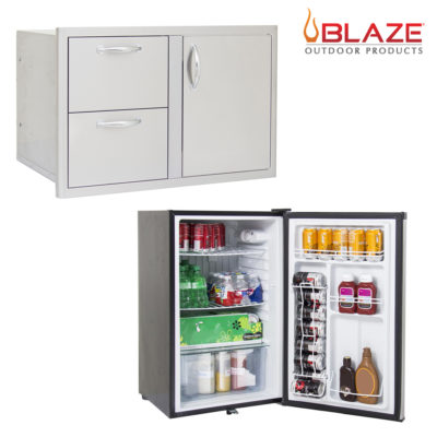 "Blaze Door Drawer Combo 32"" and Stainless Front 4.5 Cubic Feet Fridge Package Deal"