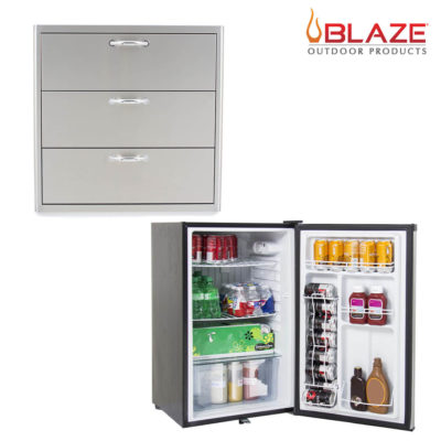 Blaze 30 Inch Triple Access Drawer + Stainless Front Fridge 4.5 Cubic Feet (BLZ-30W-3DRW + BLZ-SSRF130)