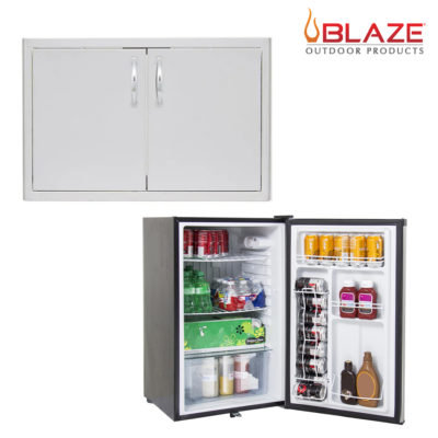 Blaze 5 Double Door + Stainless Front Fridge 4.5 Cubic Feet (BLZ-AD40-R + BLZ-SSRF130)