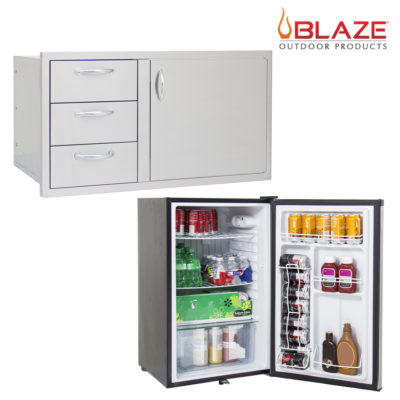 Blaze Door Drawer Combo 39 + Stainless Front Fridge 4.5 Cubic Feet (BLZ-DDC-39-R + BLZ-SSRF130)