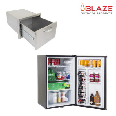 Blaze Single Drawer + Stainless Front Fridge 4.5 Cubic Feet (BLZ-DRW1-R + BLZ-SSRF130)