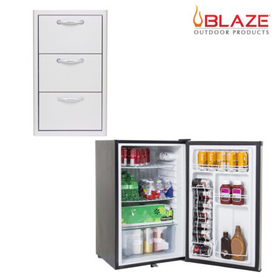 Blaze Triple Drawer Set + Stainless Front Fridge 4.5 Cubic Feet (BLZ-DRW3-R + BLZ-SSRF130)