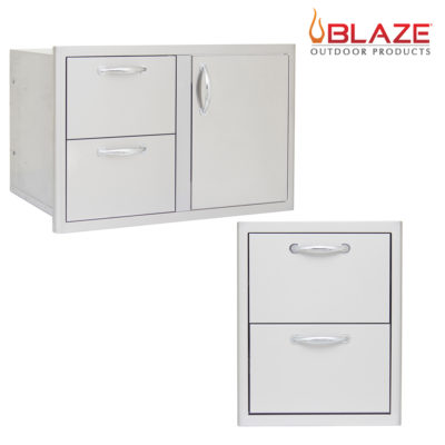 "Blaze Door Drawer Combo 32"" and Double Access Drawer (BLZ-DDC-R + BLZ-DRW2-R)"