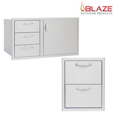 """Blaze Door Drawer Combo 39"""" + Blaze Double Drawer Set (BLZ-DDC-39-R + BLZ-DRW2-R)"""