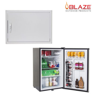 Blaze Single access Horizontal door 14 x 20 + Stainless Front Fridge 4.5 Cubic Feet (BLZ-SH-2014-R + BLZ-SSRF130)