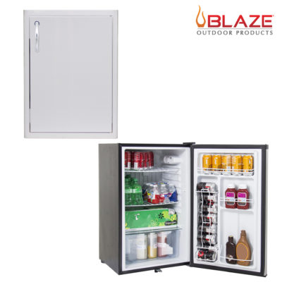 Blaze Single access Vertical door 20 x 14 + Stainless Front Fridge 4.5 Cubic Feet (BLZ-SV-1420-R + BLZ-SSRF130)